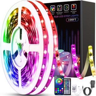 Led Strip Lights 32 8ft 10m Rgb 5050 Leds Color Changing Full Kit Led Rope Lights Flexible Tape Light Kit With 44 Keys Rf Remote Controller And Power